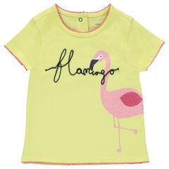 T-shirt met korte mouwen van jerseystof, print van roze flamingo en pailletten