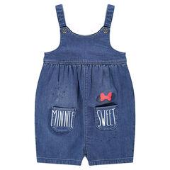 Salopette courte en jeans avec poches et print Minnie ©Disney