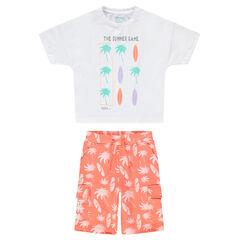 Ensemble van T-shirt en bermuda met palmboom- en surfprint