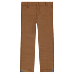 Pantalon coupe chino en coton fantaisie camel