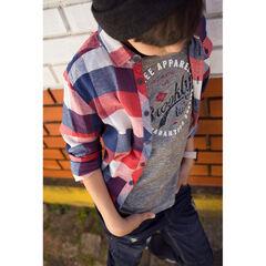 Junior - Geruit hemd met lange mouwen en zakje