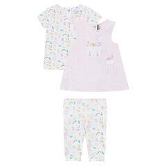 Ensemble tee-shirt, robe et legging avec imprimé floral