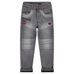 Jeans met used effect, voering van microfleece en ©Marvel Spiderman badges